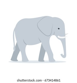 Walking Adult Elephant Vector Illustration