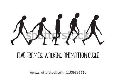Walking Animation Cycle Silhouette Man 5 Stock Vector (Royalty Free ...