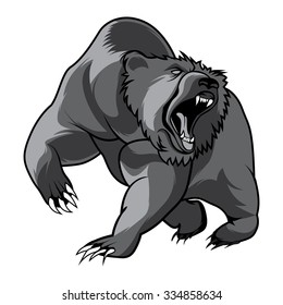 walking bear and animal head black and white vector outline emblem