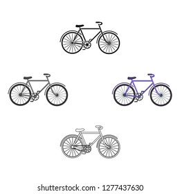 Walking bicycle with large shields and curves driving. Economical transport.Different Bicycle single icon in cartoon style vector symbol stock illustration.