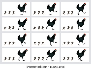 Walking black hen and chicks sprite sheet isolated on white background. Vector illustration. Can be used for GIF animation