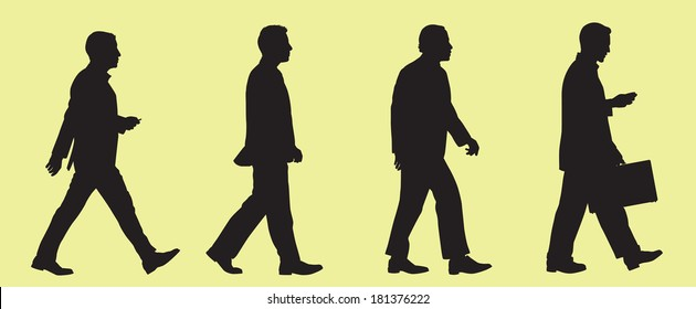Walking Business Men Silhouette