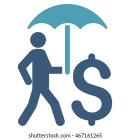 Walking Businessman With Umbrella icon. Vector style is bicolor flat iconic symbol with rounded angles, cyan and blue colors, white background.
