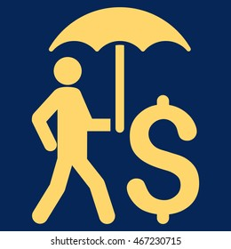 Walking Businessman With Umbrella icon. Vector style is flat iconic symbol with rounded angles, yellow color, blue background.