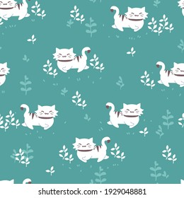 Walking Cat and Outdoor Cat Grass Vector Graphic Seamless Pattern can be use for background and apparel
