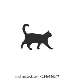 Walking Cat vector icon. Cat silhouette symbol. Linear style sign for mobile concept and web design. Cat symbol logo illustration. vector graphics - Vector.