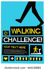 Walking Challenge! (Flat Style Vector Illustration Health Quote Poster Design) With Text Box