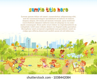Walking children in City Park. Playground. Template for advertising brochure. Ready for your message. Funny cartoon character. Vector illustration