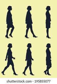 Walking Cycle of Business Woman in Silhouette
