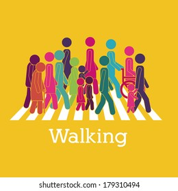 walking design over yellow background vector illustration