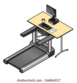 A walking desk - office desk with a treadmill installed instead of a chair.