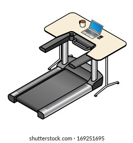A walking desk - office desk with a treadmill installed instead of a chair. With a laptop and coffee on the desk.