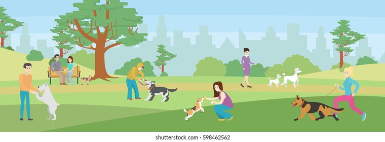 Walking dogs in park. People take care of their dogs. Beautiful green park.