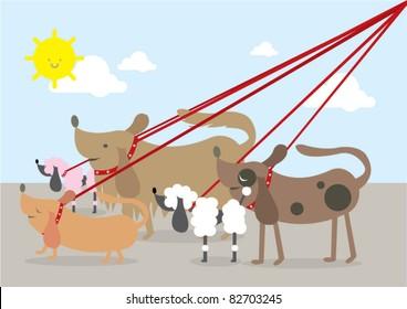 walking dogs vector/illustration