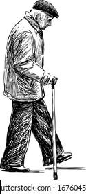 walking elderly man