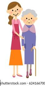 Walking elderly people, nursing care