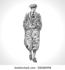 Walking elegant man. Retro Gentleman. Breeches and cap. Isolated on white background. Hand drawn vector illustration in vintage engraved style. Art Deco Epoch 1920's 1930's and 1940's Style