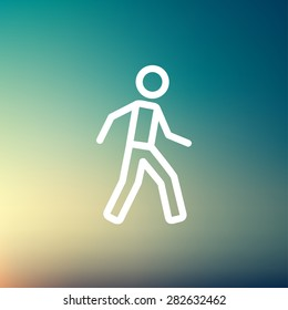 Walking exercise icon thin line for web and mobile, modern minimalistic flat design. Vector white icon on gradient mesh background.