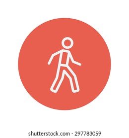 Walking exercise thin line icon for web and mobile minimalistic flat design. Vector white icon inside the red circle.