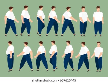 walking fat man for animation 14 frame sequence. Flat Character cartoon style. vector illustration.