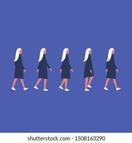 Walking female character. Animation set. Flat editable vector illustration, clip art.