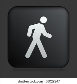 Walking Icon on Square Black Internet Button Original Illustration