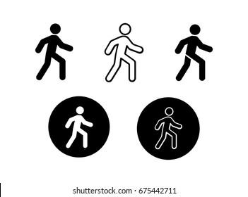 Walking icons black and white