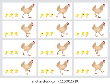 Walking light brown hen and chicks sprite sheet isolated on white background. Vector illustration. Can be used for GIF animation