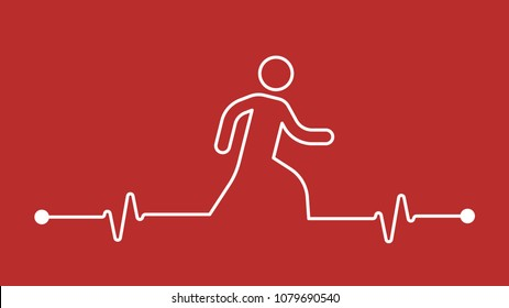 Walking makes your Heart stronger and cardiology healthier concept icon