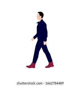 Walking male person sihouette illustration (side view)