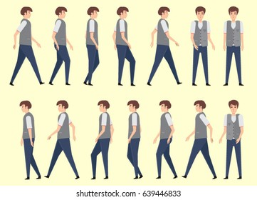 walking man for animation 14 frame sequence. Flat Character cartoon style. vector illustration.