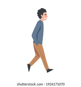 Walking Man Character with Hands in Pockets Taking Steps Forward Side View Vector Illustration
