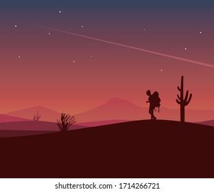 Walking man landscape vector illustration
