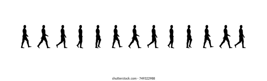 Walking man sequence vector illustration frames, animations