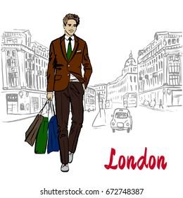 Walking man with shopping bags in London, United Kingdom. Hand-drawn illustration. Fashion sketch