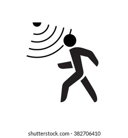 Walking man symbol with motion sensor waves signal.