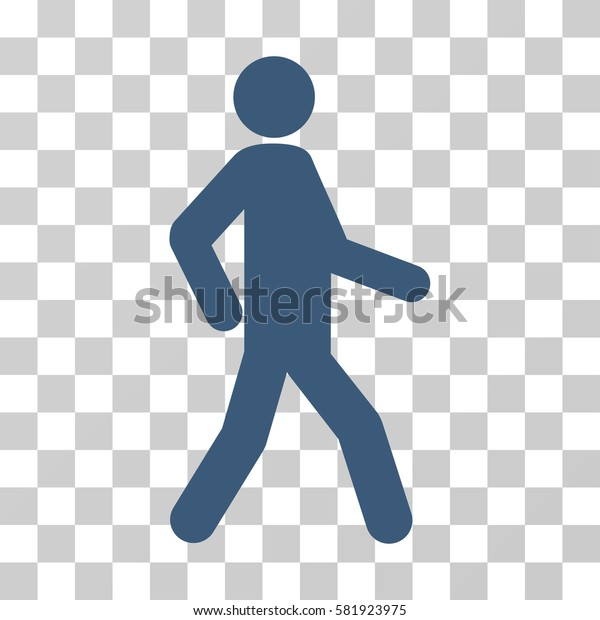 Walking Man vector pictograph. Illustration style is a flat iconic blue symbol on a transparent background.