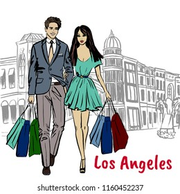 Walking man and woman on Rodeo Drive in Los Angeles. Hand-drawn illustration. Fashion sketch