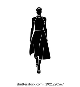 Walking model on the podium. Black silhouette of woman. Girl in a dress. Vector