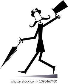 Walking mustache man in the top hat isolated illustration. Long mustache man in the top hat walking with umbrella black on white illustration