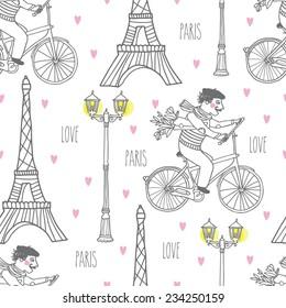 Фотообои walking in Paris by bike, France, street lights from the Eiffel tower, seamless vector, pattern