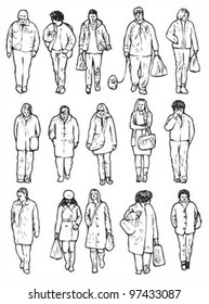 Walking people (front). People for use in illustrations and blueprints
