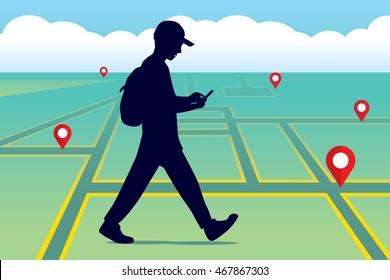 Walking people with a mobile phone