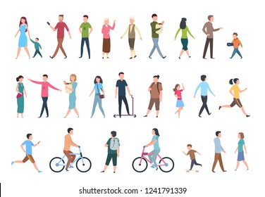Walking people. Persons in casual clothes, crowd walks in city. Vector human characters isolated set