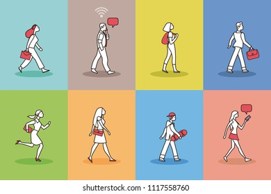 Walking People Pictogram Set. Vector illustration with 8 pictogram of people walking.