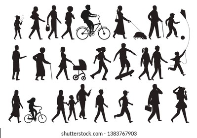 Walking persons silhouette. Group people young woman lady and child walking family isolated vector black figure set