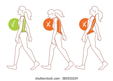 Walking position. Best worst posture for walk vector illustration. Right and wrong physical anatomy spine position showed on outline woman character. Figure with incorrect and correct backbone bent