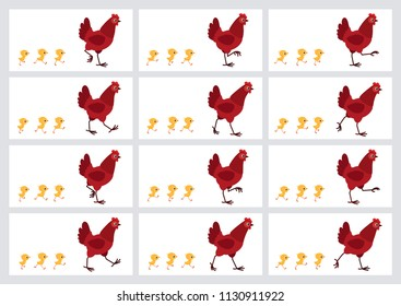 Walking red hen and chicks sprite sheet isolated on white background. Vector illustration. Can be used for GIF animation