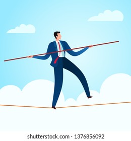 Walking in a rope with a balancing pole to gain business stability. Business concept illustration.