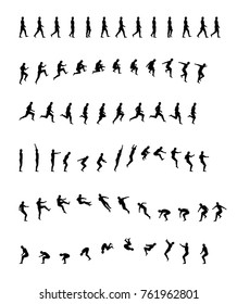 Walking, running, backflip, jogging, jumping, acrobatics, sports and healthy. man woman animation frames. Walk, run, jump actions vector illustration simple line icon symbol pictogram
